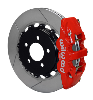 Wilwood W4A Big Brake Rear Brake Kit For OE Parking Brake - Red Powder Coat Caliper - GT Slotted Rotor