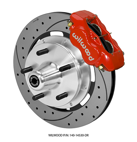"Wilwood Forged Dynalite Big Brake Front Brake Kit (5 x 5.00"" Hub) - Red Powder Coat Caliper - SRP Drilled & Slotted Rotor"