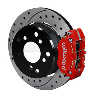 Wilwood Dynapro Lug Mount Rear Parking Brake Kit - Red Powder Coat Caliper - SRP Drilled & Slotted Rotor
