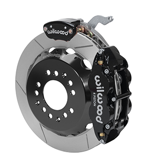 Wilwood Forged Narrow Superlite 4R-MC4 Big Brake Rear Parking Brake Kit - Black Powder Coat Caliper - GT Slotted Rotor