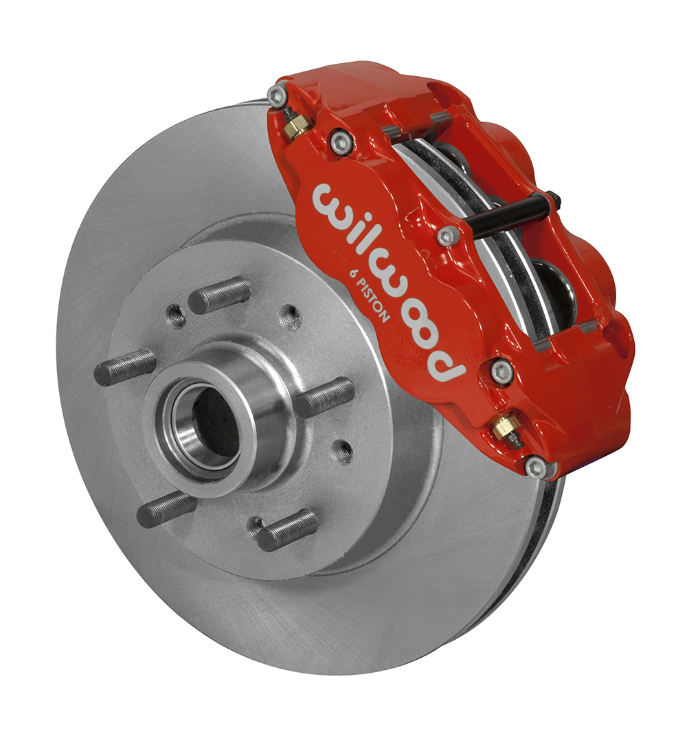 Wilwood Classic Series Forged Narrow Superlite 6R Front Brake Kit - Red Powder Coat Caliper - Plain Face Rotor