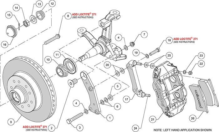 Classic Series Forged Narrow Superlite 6R Front Brake Kit Assembly Schematic