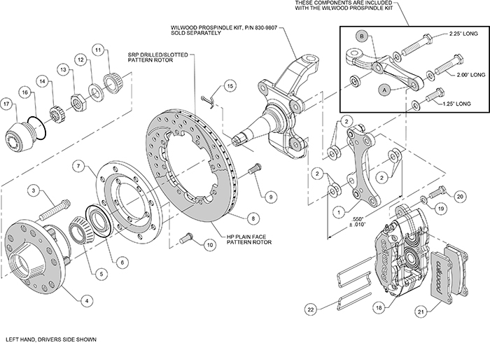 Dynapro Dust-Boot Big Brake Front Brake Kit (Hub) Assembly Schematic