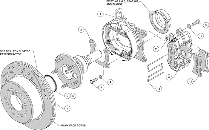 Dynapro Low-Profile Rear Parking Brake Kit Assembly Schematic