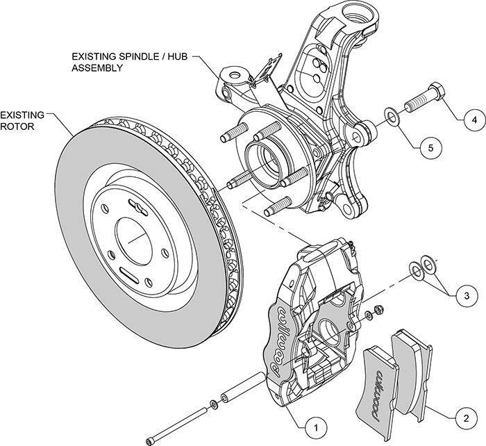 SLC56 Front Replacement Caliper Kit Assembly Schematic