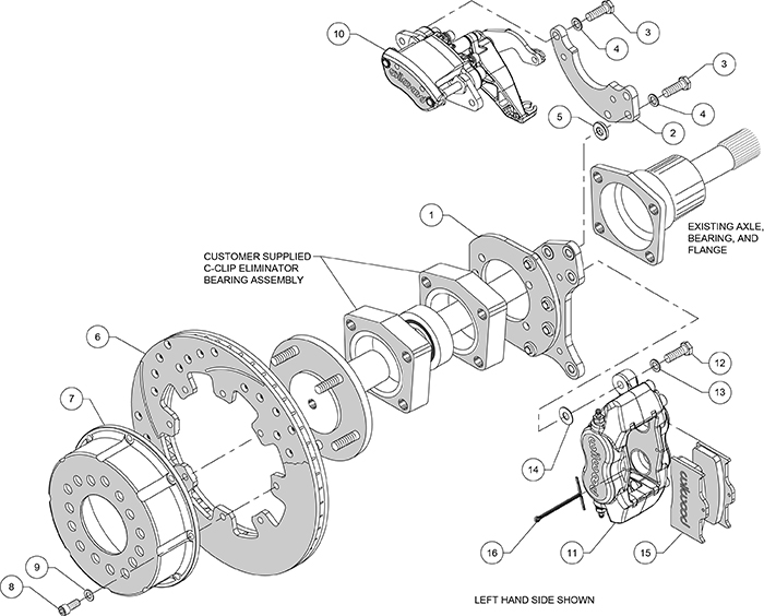 Forged Dynalite-MC4 Rear Parking Brake Kit Assembly Schematic