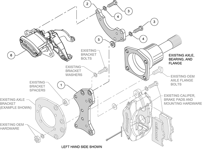 MC4 Rear Pro Street Parking Brake Upgrade Kit Assembly Schematic