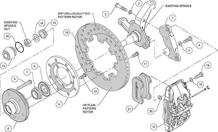 "Forged Dynapro 6 Big Brake Front Brake Kit (5 x 5.00"" Hub) Assembly Schematic"