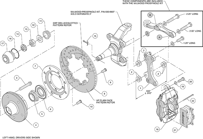 Forged Dynalite Big Brake Front Brake Kit (5 x 5 Hub) Assembly Schematic