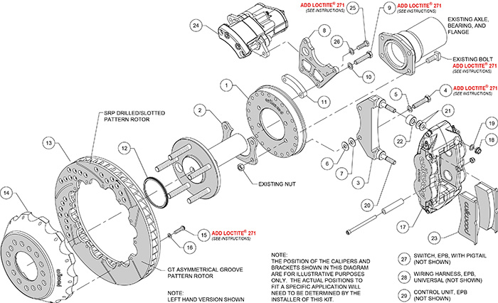 Forged Narrow Superlite 4R Big Brake Rear Electronic Parking Brake Kit Assembly Schematic