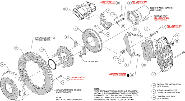 AERO4 Big Brake Rear Electronic Parking Brake Kit Assembly Schematic
