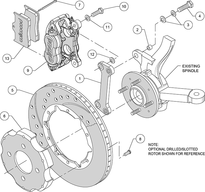 Forged Dynalite Big Brake Front Brake Kit (Hat) Assembly Schematic