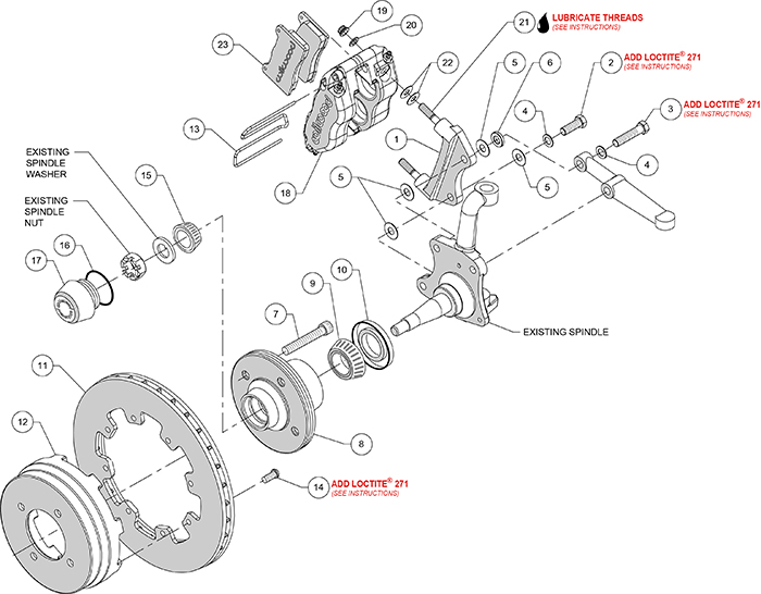 Dynapro Radial Big Brake Front Brake Kit (Hub) Assembly Schematic