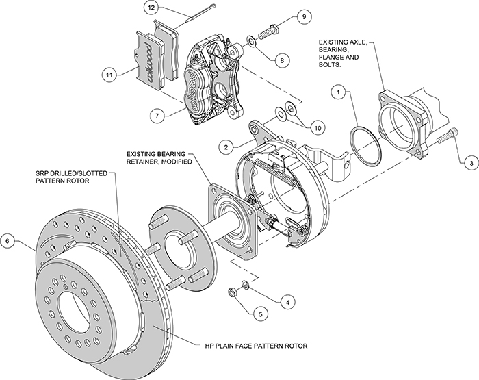 wilwood forged dynalite brake kit for 57 62 chevy 12 19. Black Bedroom Furniture Sets. Home Design Ideas