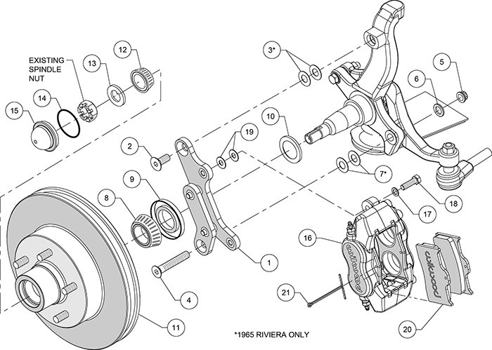 "1963-65 Buick Riviera Wilwood Disc Brake Kit 4 Piston Calipers 9"" Booster  Kit - Pirate Jack"