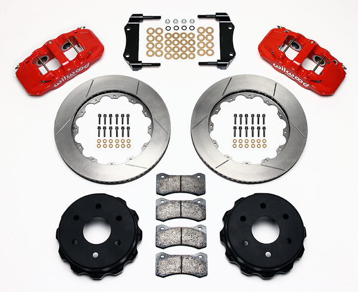 Wilwood AERO4 Big Brake Truck Rear Brake Kit Parts Laid Out - Red Powder Coat Caliper - GT Slotted Rotor
