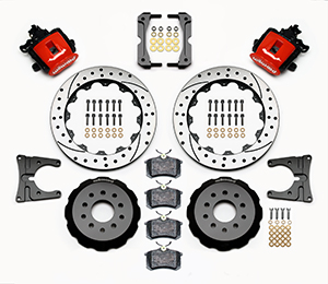 Wilwood Combination Parking Brake Caliper Rear Brake Kit Parts Laid Out - Red Powder Coat Caliper - SRP Drilled & Slotted Rotor