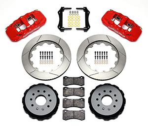 Wilwood W4A Big Brake Rear Brake Kit For OE Parking Brake Parts Laid Out - Red Powder Coat Caliper - GT Slotted Rotor