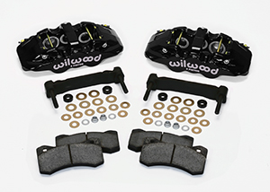 Wilwood AERO6 Front Caliper and Bracket Upgrade Kit for Corvette C5-C6 Parts Laid Out - Black Powder Coat Caliper