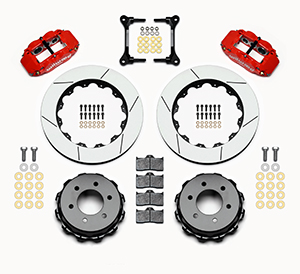 Wilwood Forged Narrow Superlite 6R Big Brake Rear Brake Kit For OE Parking Brake Parts Laid Out - Red Powder Coat Caliper - GT Slotted Rotor