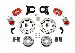 Wilwood Forged Dynalite-MC4 Rear Parking Brake Kit Parts Laid Out - Red Powder Coat Caliper - SRP Drilled & Slotted Rotor