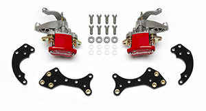 Wilwood MC4 Rear Pro Street Parking Brake Upgrade Kit Parts Laid Out - Red Powder Coat Caliper