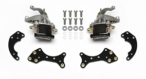 Wilwood MC4 Rear Pro Street Parking Brake Upgrade Kit Parts Laid Out - Black Powder Coat Caliper