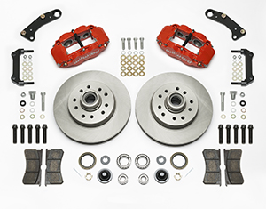 Wilwood Classic Series Forged Narrow Superlite 6R Front Brake Kit Parts Laid Out - Red Powder Coat Caliper - Plain Face Rotor