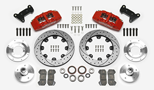"Wilwood Forged Dynapro 6 Big Brake Front Brake Kit (5 x 5.00"" Hub) Parts Laid Out - Red Powder Coat Caliper - SRP Drilled & Slotted Rotor"