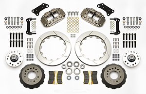 Wilwood Forged Narrow Superlite 6R Big Brake Dynamic Front Brake Kit (Hub) Parts Laid Out - Nickel Plate Caliper - GT Slotted Rotor