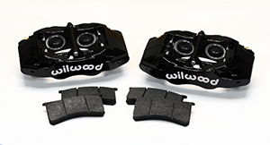 Wilwood SLC56 Front Replacement Caliper Kit Parts Laid Out - Black Powder Coat Caliper