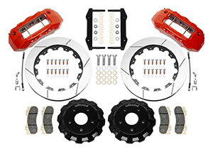Wilwood TX6R Big Brake Truck Front Brake Kit Parts Laid Out - Red Powder Coat Caliper - GT Slotted Rotor