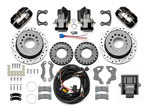 Wilwood Forged Dynapro Low-Profile Rear Electronic Parking Brake Kit Parts Laid Out - Black Powder Coat Caliper - SRP Drilled & Slotted Rotor