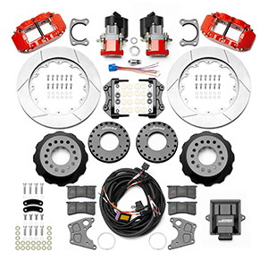 Wilwood Forged Narrow Superlite 4R Big Brake Rear Electronic Parking Brake Kit Parts Laid Out - Red Powder Coat Caliper - GT Slotted Rotor
