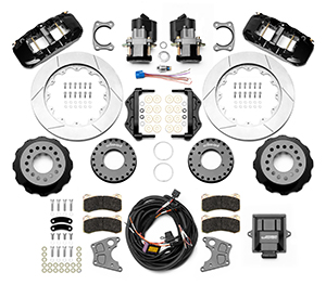Wilwood AERO4 Big Brake Rear Electronic Parking Brake Kit Parts Laid Out - Black Powder Coat Caliper - GT Slotted Rotor