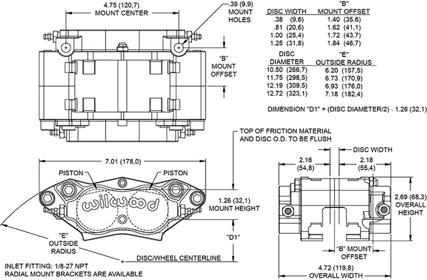 Billet Narrow Dynalite Radial Mount Caliper Drawing