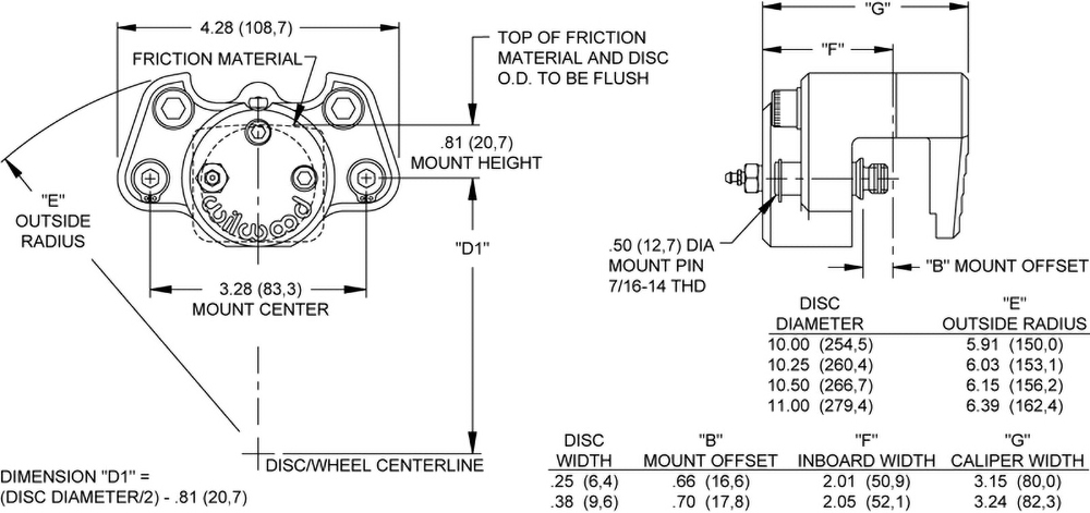 Dynalite Single Floater Caliper Drawing