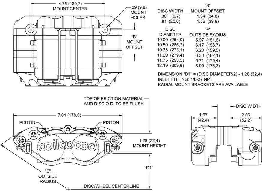 Narrow Dynapro Radial Mount Caliper Drawing