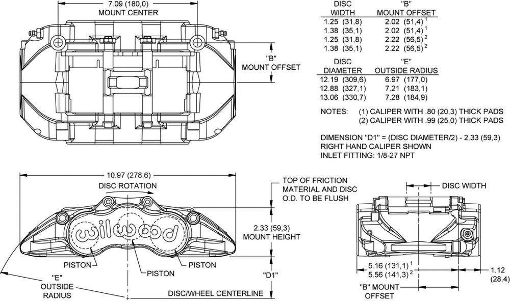 Grand National GN6R Caliper Drawing