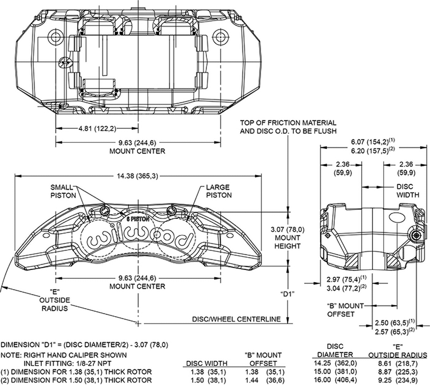 TX6R Forged Radial Mount Caliper Drawing