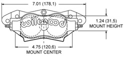 Dimensions for the Billet Narrow Dynalite Radial Mount