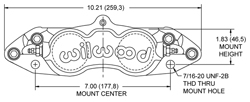 Dimensions for the D8-4 Caliper Front
