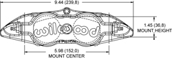 Dimensions for the Forged Narrow Superlite 4 Dust Seal Radial Mount