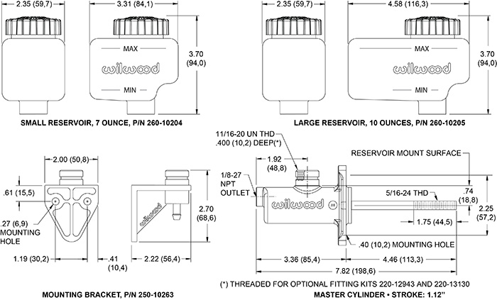 Wilwood Compact Remote Flange Mount Master Cylinder Drawing