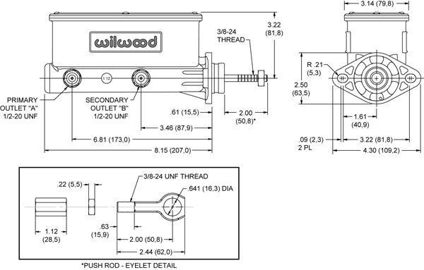 Wilwood Aluminum Tandem Master for Classic Mustang Drawing
