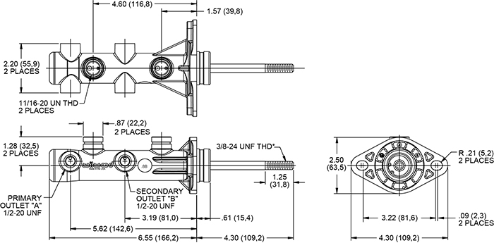 Remote Tandem Master Cylinder w/ Pushrod Drawing