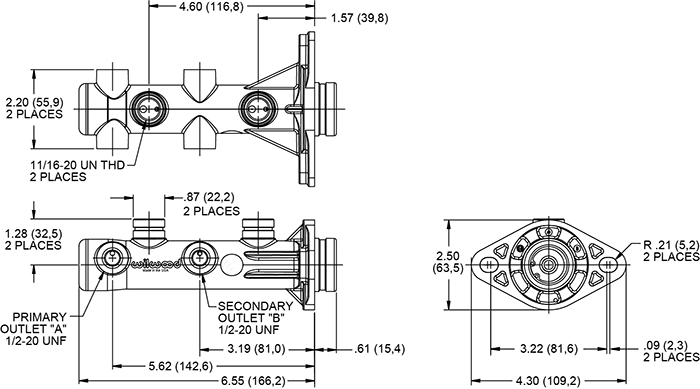 Remote Tandem Master Cylinder Drawing
