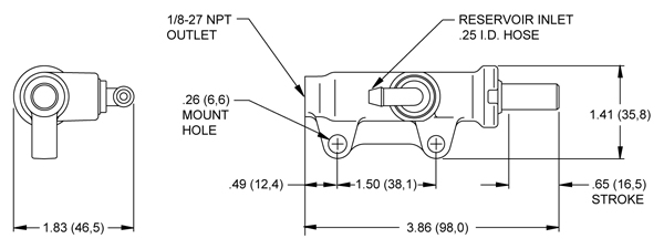 Wilwood Kart Master Cylinder (RM1) Drawing