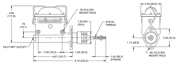 Wilwood High Volume Master Cylinder Drawing
