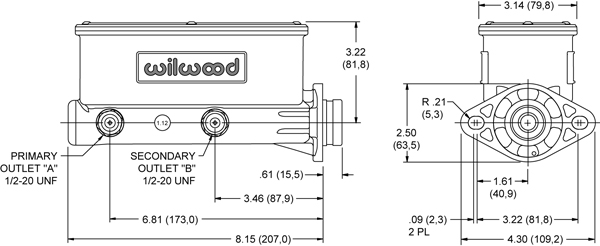 Wilwood Aluminum Tandem Master Cylinder Drawing